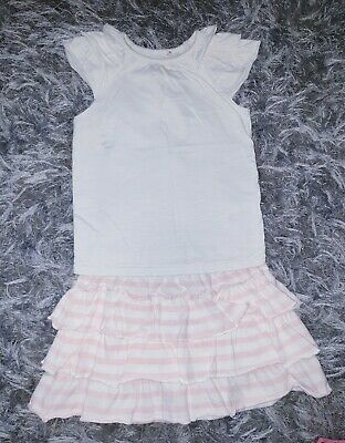 Girls Bundle White Pink Frill Short Sleeved Top Tshirt Skirt Set 3-4 Years