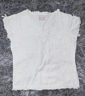 Girls Next White Floral Frill Sequin Tshirt Gypsy Top Blouse Size 8-9 Years