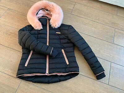 Girls Mckenzie Black Rose Gold Coat Jacket, Age 12-13 Years. Excellent Condition
