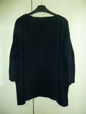 Ladies Navy Blue 100% Cashmere Over Sized Jumper by Le Cashmere Size L