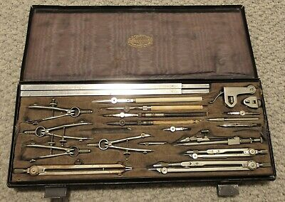 Vintage AG Thornton Drafting Set Drawing Instruments in Metal Case Beam Compass