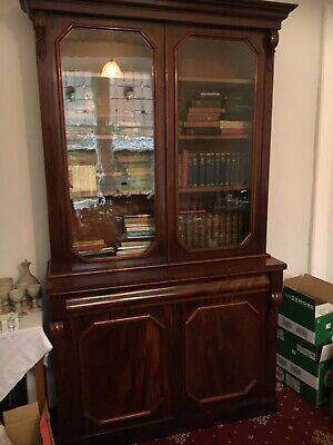 Handsome Late Victorian Antique Bookcase Cabinet With 2 Glazed Doors