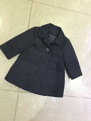 Girls Mothercare Navy Blue Smart Trench Winter Button Coat 6-9 Months