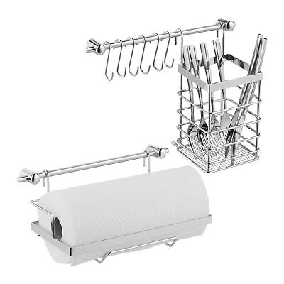 Kitchen Utensil Holder Set Stainless Steel Look Hanging Bars Hooks Paper Roll