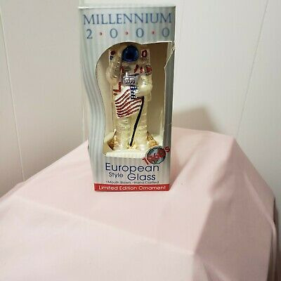 NEW Millennium 2000 Blown Glass USA Astronaut Walk on the Moon Xmas Ornament -