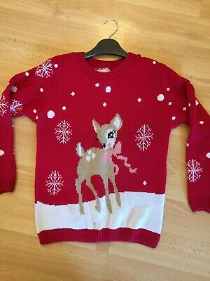 Girls Christmas Jumper, Red With Raindeer Logo