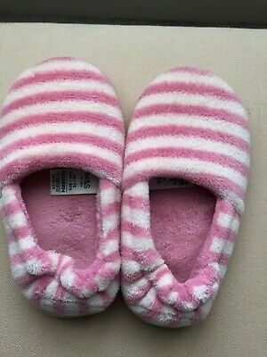 Girls M&S Slippers Infant Size 12. Lovely and warm. Pink/White striped. Ex Con.