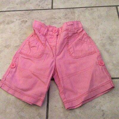 excellent condition Next baby girls pink linen mix trousers 3/4 shorts 3-6 mths