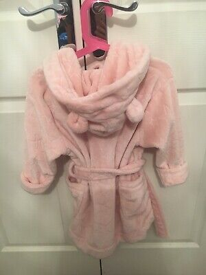 Pink Next star dressing gown super soft, bear ears, perfect condition age 2-3