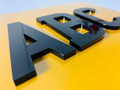 4D LASER CUT NUMBER PLATE LETTERS BLACK 3D 3mm Thick SELF-ADHESIVE Sticky back