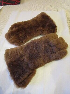 Vintage sheepskin & leather  gauntlets gloves Small size 7 Bryans Gloves skiing