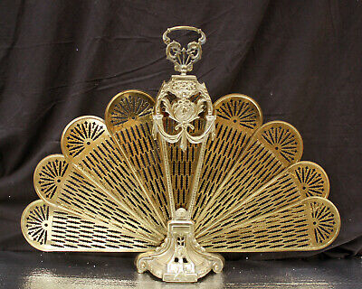 Vintage Antique Solid Brass Peacock Collapsible Fan Fireplace Fire Screen Cover