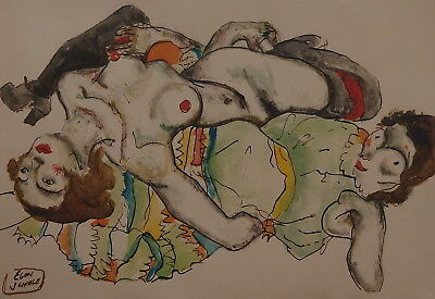 Signed Expressive Secession original gouache, lovers painting, Schiele era