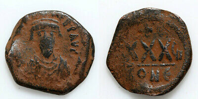 Byzantine Coin Ae Three Quarter Follis Phocas Constantinople 602-610 Ad Year 6