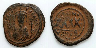 BYZANTINE COIN AE 33mm FOLLIS PHOCAS CONSTANTINOPLE 602-610 AD YEAR 4