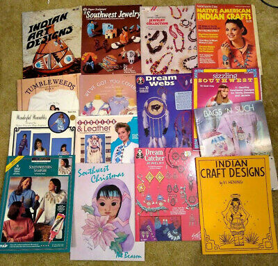 Lot 15 Southwest Indian Art Designs Jewelry Booklets Craft Patterns Transfers  Y
