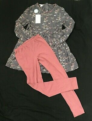 Monsoon Dress and Leggings Outfit ~ Grey & Pink ~ 12-13 Years / 152-158cm ~ BNWT