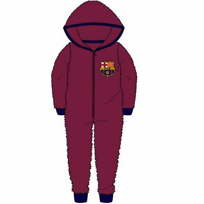 Childrens Kids Boys Official Barcelona Fleece Hooded All In One Age 5-6 Years