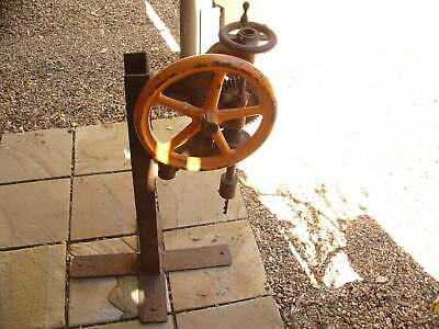 Vintage Hand Drill On Stand