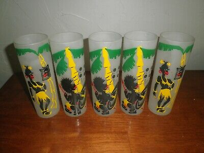 Vintage Collins Set of Mid Century Black Americana/Tiki Bar Frosted Glasses