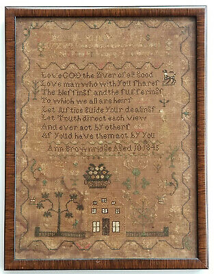 1845 STITCHED NEEDLEWORK PRAYER by ANN BROWNRIDGE SAMPLER AGED 10