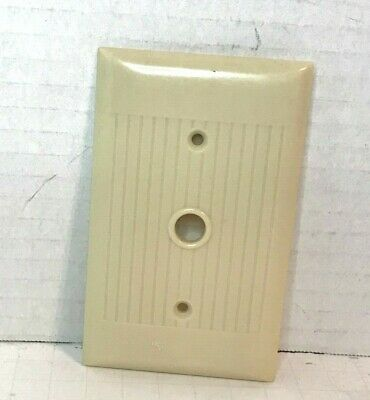 Vintage Sierra Ivory Cable receptacle Wall Plate Cover Ribbed Bakelite