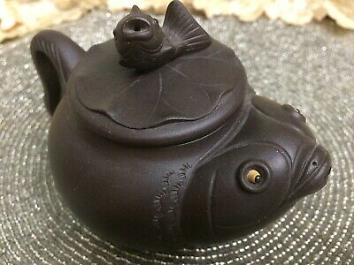 Marked Antique Chinese Yixing Zisha Clay Pottery Fish on Lotus on Fish Tea Maker
