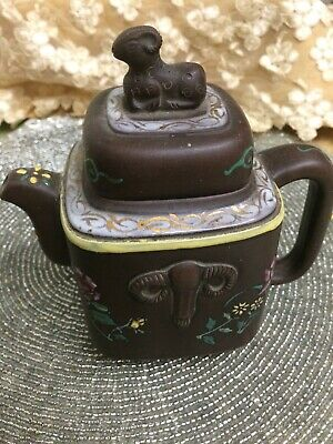 Marked Antique Chinese Yixing Zisha Clay Pottery Ram Floral Porcelain Tea Maker