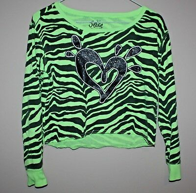JUSTICE bright lime green sparkly top - girls size 12 - EUC