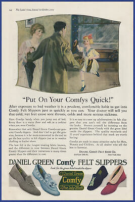Vintage 1919 DANIEL GREEN Comfy Slippers House Shoes Women's Print Ad