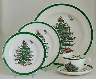 SPODE Christmas Tree 5-Pc Place Setting Green Trim S3324D ENGLAND 4 Available