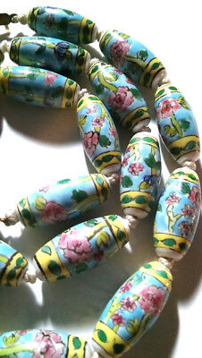 Antique Chinese Art Deco Necklace Estate Porcelain Hand Painted Large Beads Long