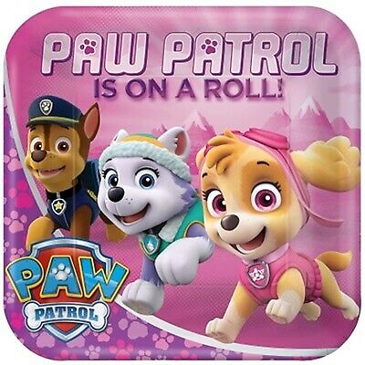 """Paw Patrol Girls 9"""" Square Plates Pack Of 8 Tableware Party Supplies"""
