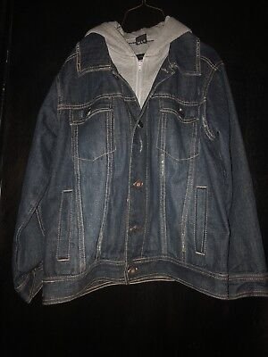 Boys Calvin Klein Jean Jacket Hoodie Size M Used With Stain/damage On Grey Hood