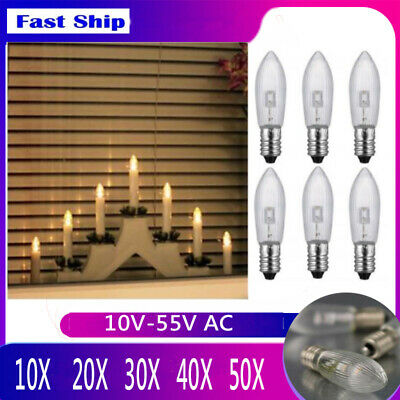 1-50X E10 LED replacement bulbs top candle for fairy lights lamp 10V-55V AC Lot