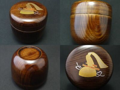 Japan Lacquer Wooden Tea caddy TRADITIONAL CROWN makie Natsume Shiny Grain  1004