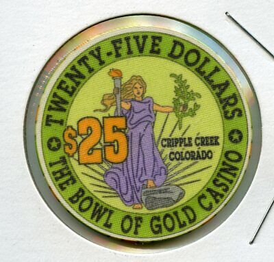 $25 Bowl of Gold Casino Cripple Creek Colorado Casino Chip RARE UNC!