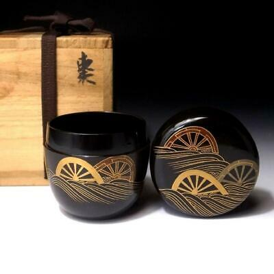 OQ14 Japanese High-Class Lacquered Wooden Tea Caddy, NATSUME with wooden box