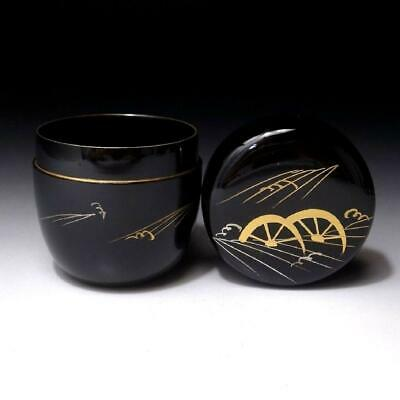 RC13: Japanese lacquered wooden Tea Caddy, NATSUME, Gold MAKIE, Wheel & river