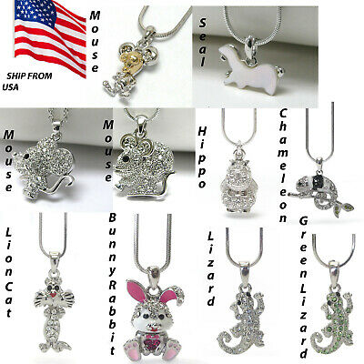 Mouse Seal Hippo Lion Cat Lizzard Chameleon Bunny Rabbit Necklace forWomen Girls