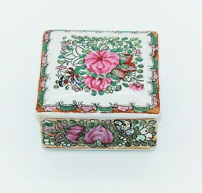 Antique Chinese Qianlong Porcelain Famille Rose Trinket Box Chinoiserie