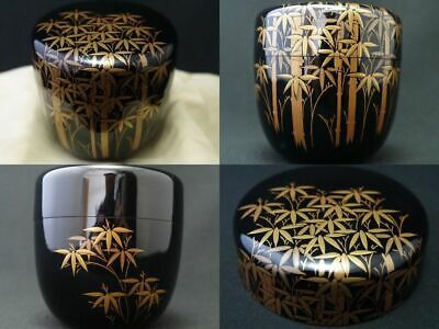 Japanese Lacquer Wooden Tea caddy Bamboo Forest makie Chu-Natsume (927)