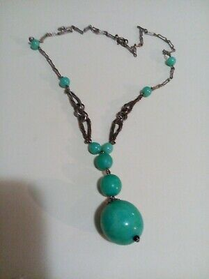 Deco Necklace With Green Beads