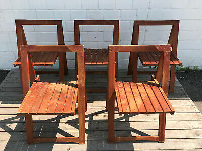 Aldo Jacober Folding Chair Teak Look Bazzini Italy Late 1960s Design Chair Set