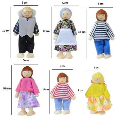 6PCS Wooden Furniture Dolls House Family Miniature People Doll Kids Toy Gift
