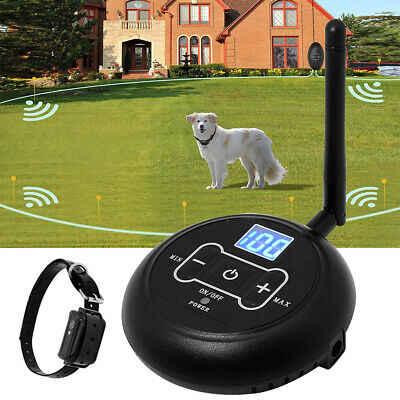 Wireless Electric Dog Fence Collar Boundary Pet Containment System Control 100M