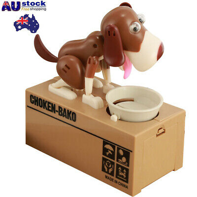Funny Cartoon Eating Coin Doggy Dog Piggy Bank Money Saving Box For Kids Gift AU