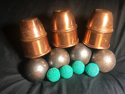 "Vintage Magicians Cups & Balls w Giant 2"" Steel Balls For The Finale Magic Trick"