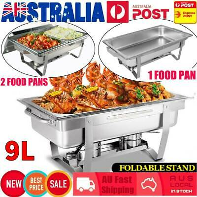 9L + 2 x 4.5L Bain Marie Bow Chafing Dish Stainless Steel Food Buffet Warmer Set