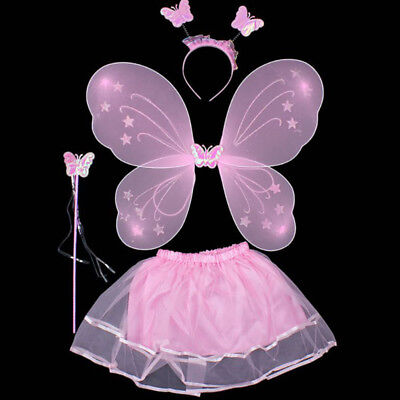 Baby Girls Princess Angel Fairy Wings Kids Butterfly Party Cosplay Costume Set